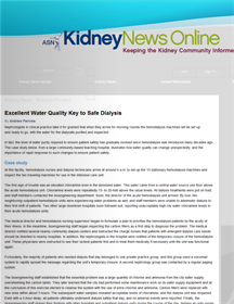 Excellent Water Quality Key to Safe Dialysis